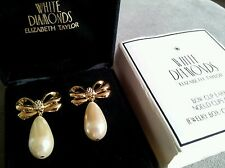 NEW ELIZABETH TAYLOR VINTAGE WHITE DIAMONDS PAIR OF BOW PEARLED EARRINGS