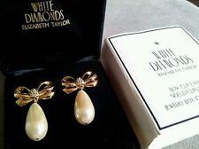 Elizabeth Taylor Vintage White Diamonds Pair of Bow Pearled Earrings