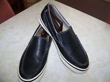 Bass Shoes-Anthony-Black Leather w/ White Soles-Boat Shoe-Men's Size 9.5 Medium