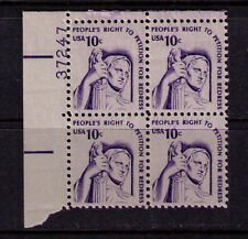 US USA Sc# 1592 MNH FVF PL# BLOCK Peoples Right Petition for Redress Shiny Gum