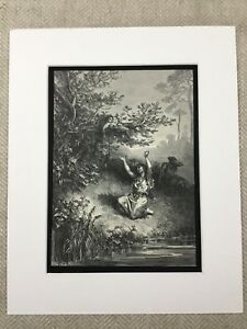 Woodland Girl River Atala French Book Chateaubriand Dore Engraving Antique Print