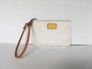 Coach Hamptons Weekend Nylon Skinny Wristlet Silver/White/Yellow No F40499