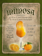 MIMOSA  COCKTAIL RECIPE METAL SIGN :HOME BAR:PUB:BAR:CAFE:  LOVELY GIFT