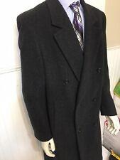 Vtg Sterling & Hunt Wool Overcoat Mens Charcoal 46 R Long Dress Top Winter Coat