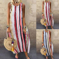 Women Summer Sleeveless Striped Casual Loose Cotton Kaftan Baggy Long Maxi Dress
