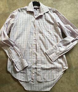 Pink Shirt Brook Taverner Check 15 Collar 38 Chest Cotton Long Sleeve Top Pocket