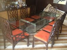 Spectacular All Glass And Lucite Formal Dining Room Table With 8 Chairs