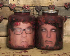 Gruesome Twosome - Custom Heads in Jars-  Fetid Green or Fresh Red