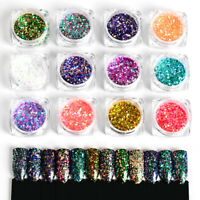 Holographic Nail Art Glitter Sequins Mixed Color Star Iridescent Flakes Tips DIY