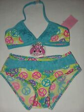 2 B Real Blue Green Aqua Peace Sign Ruffle Bikini Swim Set Girls Sz 4 NWT pink