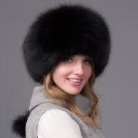 Womens Fluffy Fox Fur Hat Russian Hat Winter Warmer Ear Cap Ushanka Cossack Ski
