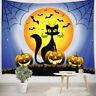 Halloween Pumpkin Moon Funny Black Cat Tapestry Wall Hanging Living Room Bedroom