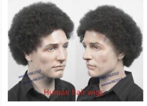 100% Real Human Hair Short Wig for Black Men African American Wig Afro Black