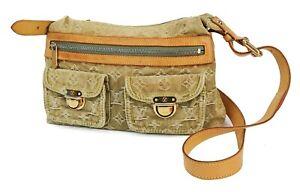 Authentic LOUIS VUITTON Baggy PM Green Denim Shoulder Tote Bag Purse #40820