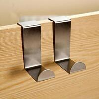 2pcs Over Door Hook Stainless Kitchen Cabinet Clothes Hanger Organizer Holder AU