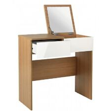 Malibu Dressing Table & Mirror - White Gloss & Oak Effect