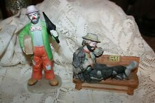 Lot of 2 Emmett Kelly clown figurines Man on Bench and Man with Umbrella Flambro