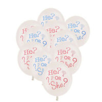 10pcs He or She Gender Reveal Baby Shower Latex Quality Balloons Party Decor~