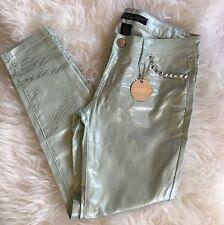 NEW Silent Disco CELEBRITY PINK Stud Metallic Jeans Mint Green Skinny Shiny 9