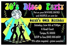 70's DISCO PARTY INVITATIONS for birthday, etc.