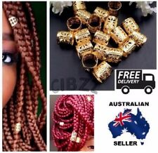 20x Dreadlock Hair Cuffs Clips Beads Style Rings Wrap Adjustable Jewellery GOLD