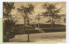 VINTAGE 1908 POSTCARD ~ Greetings from PORTLAND, MAINE ~ FORT ALLEN PARK ~SEPIA