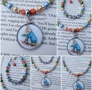 Peter Rabbit Gift set Necklace Bracelet, Personalised Jewellery present