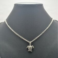 Sea Turtle Natical Necklace Sterling Silver Plated Chain Link Women's Jewelry