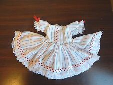 New Custom-Made Doll Dress in Red, White, & Blue Striped Cotton, Sz 13-15""