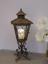 Rustic Brown Candle Lantern On Ornate Stand