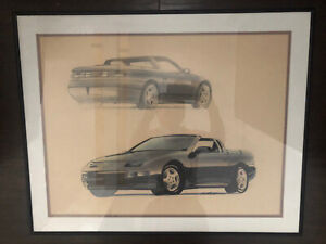 Fine Vintage Concept Car Drawing Color Art Nissan 300ZX ARTIST SIGNED Cool