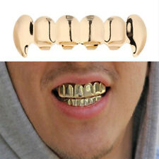Gold Plated Hip Hop Teeth Grillz Top&Bottom Grill Set Cosplay  Rapper ToothT Kj