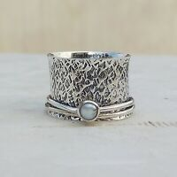 Pearl Stone 925 Sterling Silver Spinner Ring Meditation Statement Jewelry A83