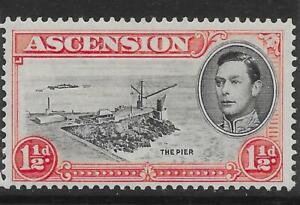 ASCENSION SG40a 1938 1½d BLACK & VERMILION p13½ DAVIT FLAW MTD MINT