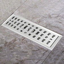 Stainless Steel Bathroom Floor Drain Shower Wetroom Linear Grate Drainer 20x10cm