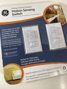 GE 2 PACK White Motion Sensor Light Switch On/Off/Auto Timer 120 VOLT 500 WATT