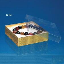 """LOT OF 12 GOLD Clear Top COTTON FILLED BOX JEWELRY GIFT BOXES BRACELET BOX 3""""x3"""
