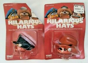Hilarious Hats Cowboy and Policeman Wind Up Toy Tomy 1983 #2569 New in Package