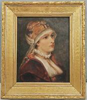 8660001 Pintura Carl (?), Retrato de Mujer En Tradicional Traje Um 1900 49x42cm