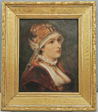 8660001 Gemälde Carl (?), Damenporträt in traditioneller Tracht um 1900 49x42cm