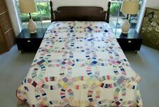 Vintage Feed Sack Hand Sewn WEDDING RING Quilt, Washed Many Times, Still GOOD!