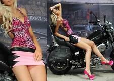 Nieten Top sexy Rückenfrei pink Leopard sexy animal Rosa Tiger CLUB