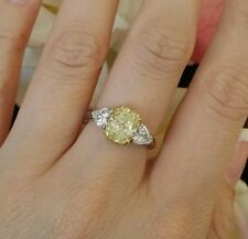2.54 ct Fancy Yellow Cushion Diamond Ring GIA 18k Yellow Gold/Platinum-C300SIE