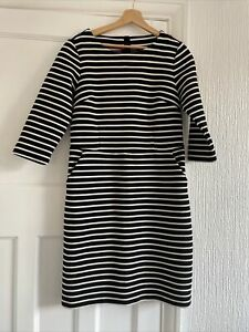 Joules Black / Very Dark Navy & Cream Striped Ribbed Shift Dress Size 12 Pockets