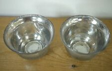 Pair Vintage Mercury Silver Glass Tea Light Small Votive Wedding Candle Holders