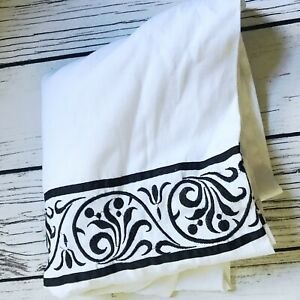 Target HOME Fabric Shower Curtain White Indian Cotton Embroidered Black Leaf