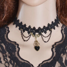 Beauty Women's Crystal Heart Chunky Collar Bib Pendant Lace Necklace Gift Party