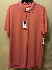 IZOD Golf fire engine red and white horizontal stripe men's shirt
