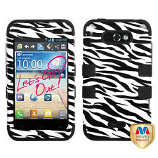 For LG Optimus Regard Motion 4g MS770 IMPACT TUFF HYBRID Case Phone Cover Zebra