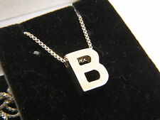 "STERLING SILVER 925 Letter ""B"" HEAVY INITIAL PENDANT NECKLACE 18"" Box Chain"